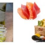 Photo des aliments bons pour la peau (alimentation beauté) : huile d'olive, poissons, fruits et légumes